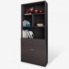 雅美乐五层1.8米板式书柜简易书架层架 木质对开门储物收纳柜子