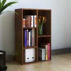 慧乐家 书柜书架 鲁比克五格简易书橱柜子 储物置物架深红樱桃木
